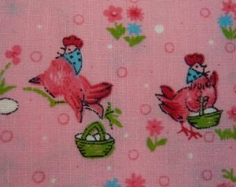 Vintage NOVELTY print CHICKENS Ducks on pink cotton