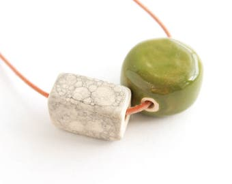 Ceramic Bead Necklace, Gifts for Her, Geometric Necklace, Gifts for Women, Geometric Jewelry, Clay Jewelry, Clay Necklace, Gifts under 50
