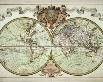 Antique world map etsy canvas world map print antique world map vintage map high quality reproduction historic gumiabroncs Choice Image