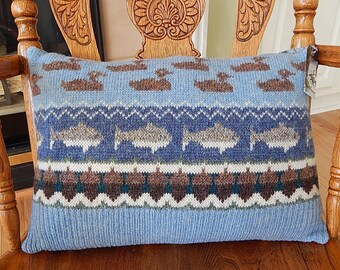 UpCycled Wool Sweater Pillow, Ducks and Fish