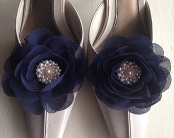 Shoe Clips - Pair of Classic Navy Blue Chiffon Fabric Shoe Clips, Shoe Accessories, Women Accessories, Shoe Ornament