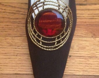 """Shoe Clips - Vintage Large MUSI Shoe Accessories Oval Brown Stone 2-3/4"""" x 2-1/2"""""""