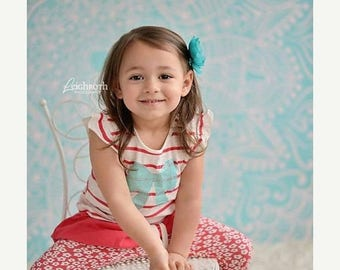 5ft x 5ft Blue Photography Backdrop - Light Blue Photo Background - Batik Pattern  -  Item 556