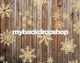 2ft x 2ft Gold Glitter Snowflake Photography Backdrop - Wood Christmas Photo Prop - Exclusive Design - Item 3027