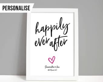 Wedding gift, Wedding print, Personalised wedding gift, Engagement gift, Happily ever after A4 or A5 print