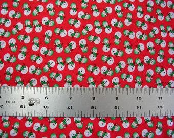 "Snowmen on Red Cotton Fabric  (18"" x 43"")"
