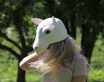 White sheep half head size animal mask