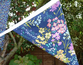 Handmade Fabric Bunting Cottage Chic Enchanted Garden Print, Blue, Mauve, Pink, Yellow, White Flowers on Navy Blue, 12 Double Sided Flags