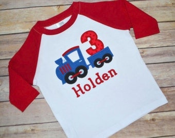 Train birthday shirt, boy birthday shirt, train birthday party, raglan birthday shirt, choo choo train, toddler birthday outfit, toddler tee