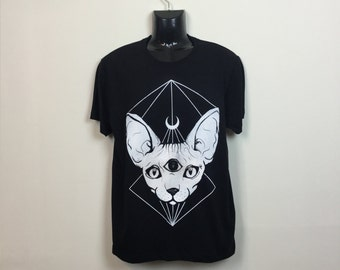 Alternative Crescent Moon Sphynx Cat T-shirt Hipster Indie Swag Dope Hype Black White Mens Womens Cute Festival Halloween