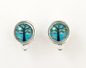 1 pair (2 pieces) of post earring with glass cabochonsilver tone + back stopper,16mm #FIN E 022