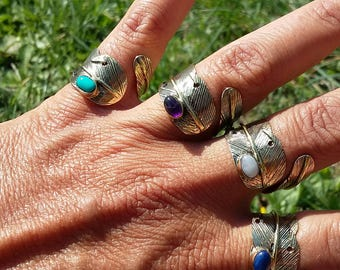 Brass feather ring, natural stone ring, boho ring, ethnic ring, tribal ring, indian ring, handmade ring