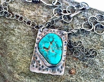 Sterling silver and turquoise hand made necklace. Organic feel, recycled sterling silver, hand made sterling chain.