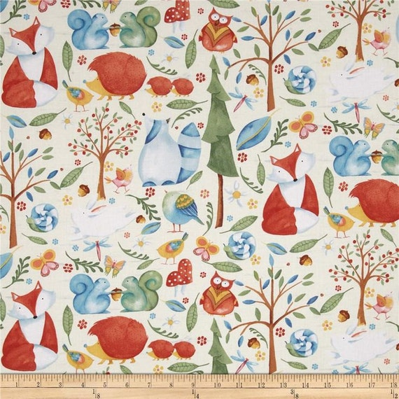 Woodland toile fabric by the yard cotton quilt by birdonabough for Baby nursery fabric yard
