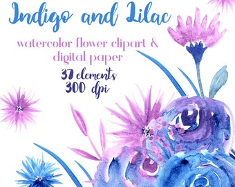 Indigo Flower Clipart, Indigo and Lilac Flower Clip, Watercolor Flower Clipart, Floral Clipart, Clipart and Digital Paper, Clipart Set