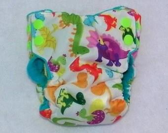 dinosours print diaper, newborn size, all in one new born, cloth diaper, pul newborn diaper