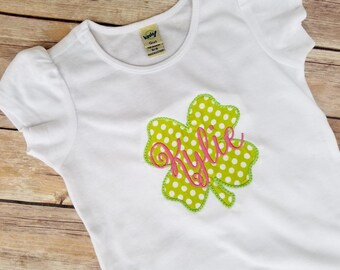 St Patrick's Day Shirt - Personalized Four Leaf Clover Shirt - St Patty's Day Girl Shirt or Bodysuit - Toddler - Girl