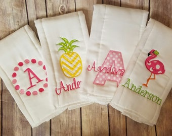 Set of 4 personalized burp cloths - Embroidered girl burp cloths - Newborn - Monogram burp cloths - Baby Girl - Pineapple - Flamingo