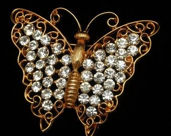 Rhinestones Butterfly Brooch Pin MJ Ent