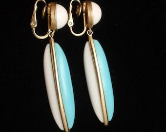 Two Color Drop Earrings Vintage Trifari
