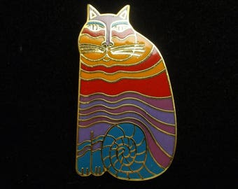 Rainbow Cat Brooch Pin Vintage Laurel Burch Striped Multi-Colored