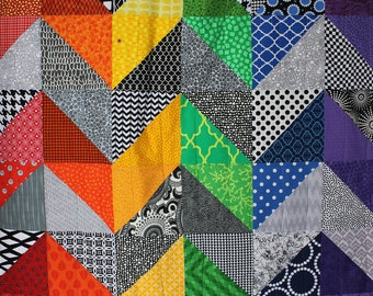 """Modern Baby Quilt, """"Olivia"""", Contemporary, Geometric; Triangles, Rainbow Colors, Baby Quilt, Lap Quilt, Play Mat, Wall Hanging"""