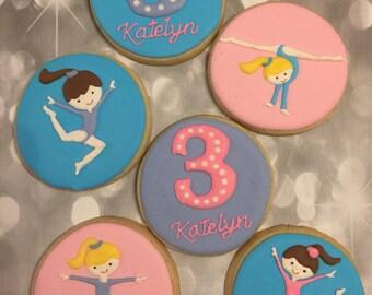 Gymnastics custom decorated cookies - 1 Dozen