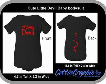 Cute Little Devil Baby bodysuit, devil tail, baby devil costume, baby Halloween costume, infant, baby shirt, baby clothes, funny baby, baby.