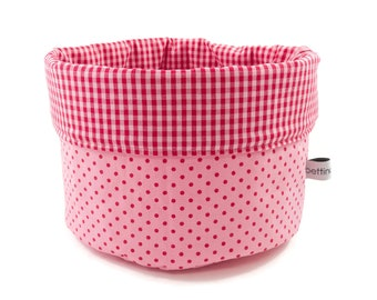 Fabric basket points gingham pink red - bread basket accessories
