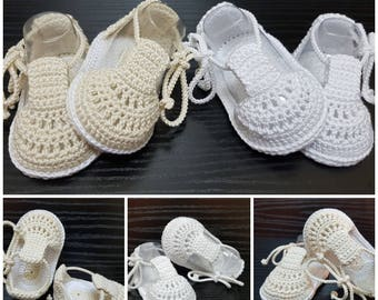 Baby christening shoes ,Crochet Baptism booties,Baby crochet shoes, Crochet baby summer sandals, Crochet boys or girls shoes.