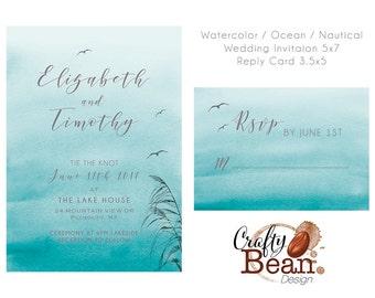 Watercolor Ocean Nautical Teal Wedding Invitation Suite DIY Printable