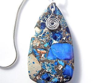Sea sediment jasper pendant necklace, on snake chain.