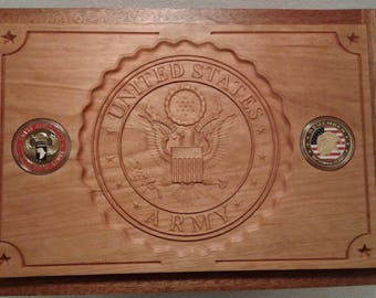Deluxe US ARMY Carved Mahogany/Cherry Cigar Humidor