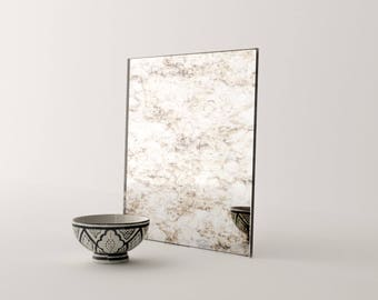 """52"""" x 24"""" Desktop. Italian Inspired Mirror. Give your interior project a unique look. Handmade antiqued glass mirror by Mirror Coop."""