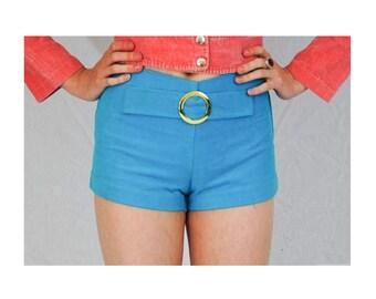 Vintage 60s Hotpants/Buckled/Gogo Hotpants/Gogo Dancer/Vintage Hotpants/Dollybird/Mod Hotpants/Blue Hotpants/UK 4/UK 6