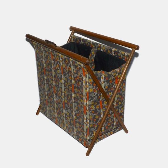 Vintage Folding Knitting Basket : Vintage sewing basket folding knitting wood frame