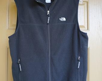 The North Face fleece black vest  jacket size large L mens