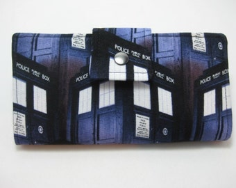 Dr. Who Wallet,  Womens Wallet, Police Box Wallet, Ladies Bifold Wallet