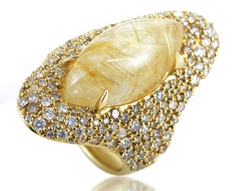 Fine Alexis Bittar 18K Yellow Gold with Argyle Diamonds & Rutilated Quartz Ring. Glittery! Luxury Line created once in his long career!