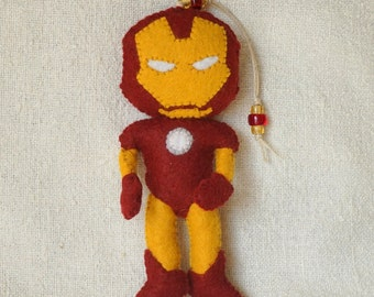 Iron Man Doll Ornament, Wool Felt Super Hero Ornament, Wool Felt Art Doll *Made to Order