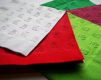 1 Dozen Dinner Cherry Embossed Paper Napkins in 26 Colors
