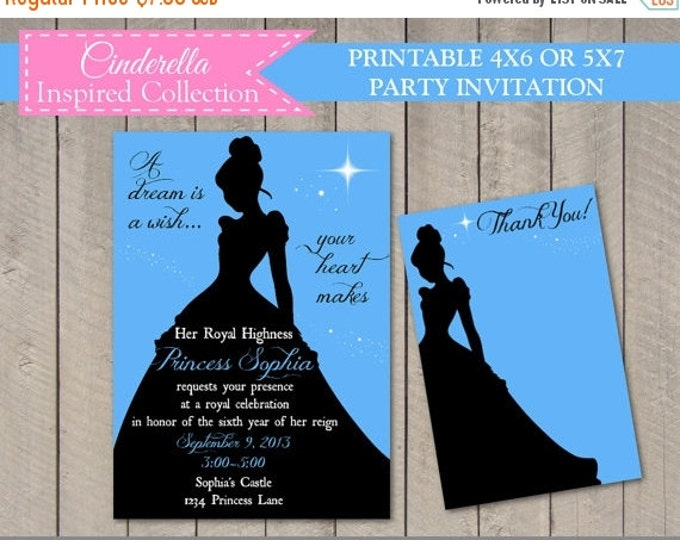 SALE PERSONALIZED Printable Cinderella Inspired 4x6 or 5x7 Invitation with Free Thank You Card / Cinderella Collection / Item #2703