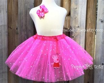 Peppa pig tutu Peppa pig hair clip peppa pig birthday outfit peppa pig costume Peppa pig patch hot pink tutu peppa pig outfit