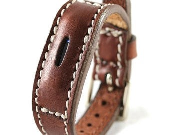 Brown-FitBit Flex 2 Leather Bracelet - Fit bit Band