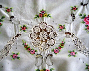 Roses CrossStitch Tablecloth-Crochet Inserts-Needlework-Handmade-Shabby French-Cottage-High Tea- Gift for Her at Designs By Willowcreek