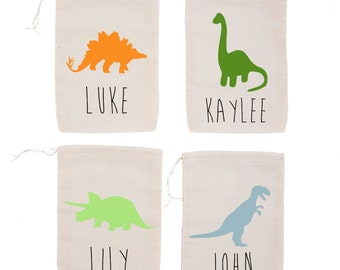 Dinosaur {set of 10} Personalized Dino Silhouette Modern Kids Custom Birthday Party Favor Bags