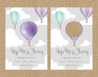 Up Up and Away - Purple Hot Air Balloon - Baby Shower -EOS Party Favor Cards