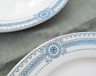 Exceptional French antique plates set of 10, Sarreguemines early XXth century. Wedding table, Ten white and blue shabby chic French plates.
