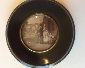 Antique English small ebony wood black lacquer print with convex glass