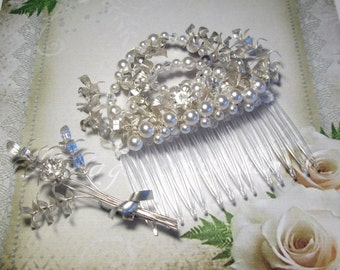 Hair comb on the wedding, Myrtle bridal hair comb, Silver pearls Wedding Crown tiara